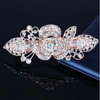 Rosékleurige Haarclip met Fonkelende Diamanten - Roos