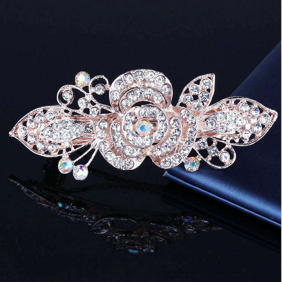 Rosékleurige Haarclip met Fonkelende Diamanten - Roos-1