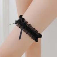 thumb-Kousenband - Zwart met Zwarte Strik-1