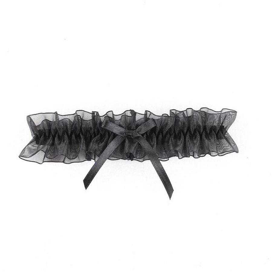 Kousenband - Zwart met Zwarte Strik-2
