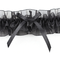 thumb-Kousenband - Zwart met Zwarte Strik-3