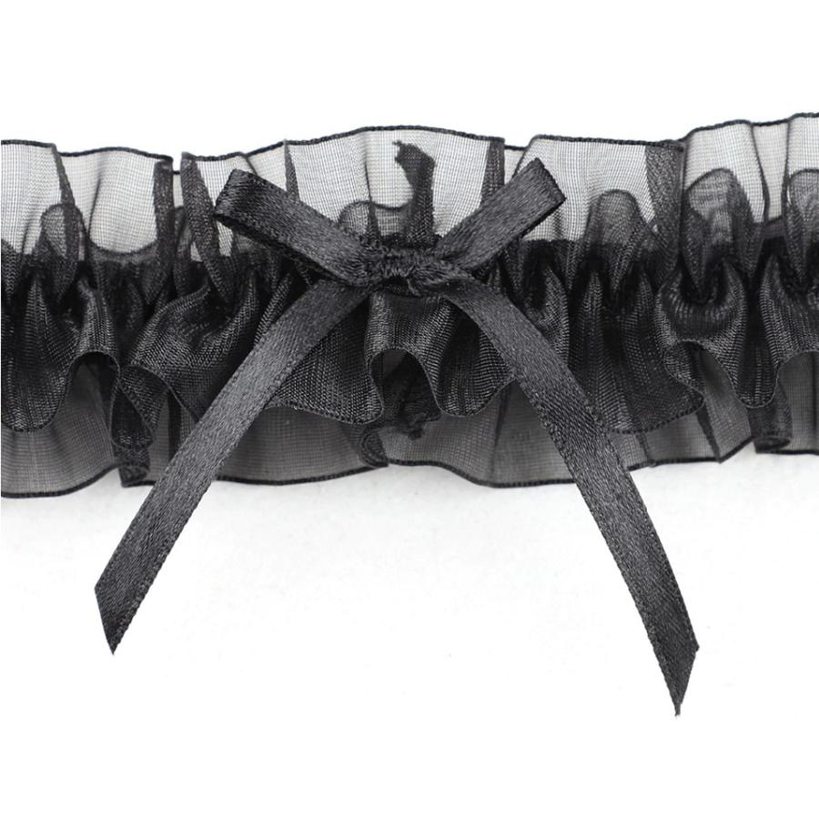Kousenband - Zwart met Zwarte Strik-3