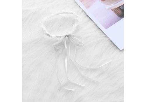 Witte Kousenband met Witte Strik