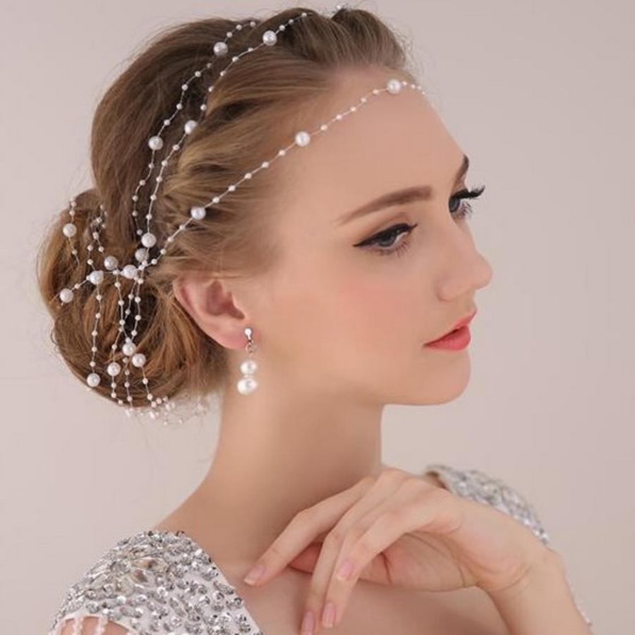 Haarketting Pearl - Wit - ca. 1 m.-3