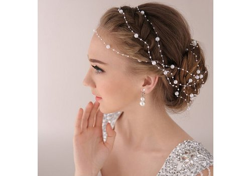 Haarketting Pearl - Wit - ca. 1 m.