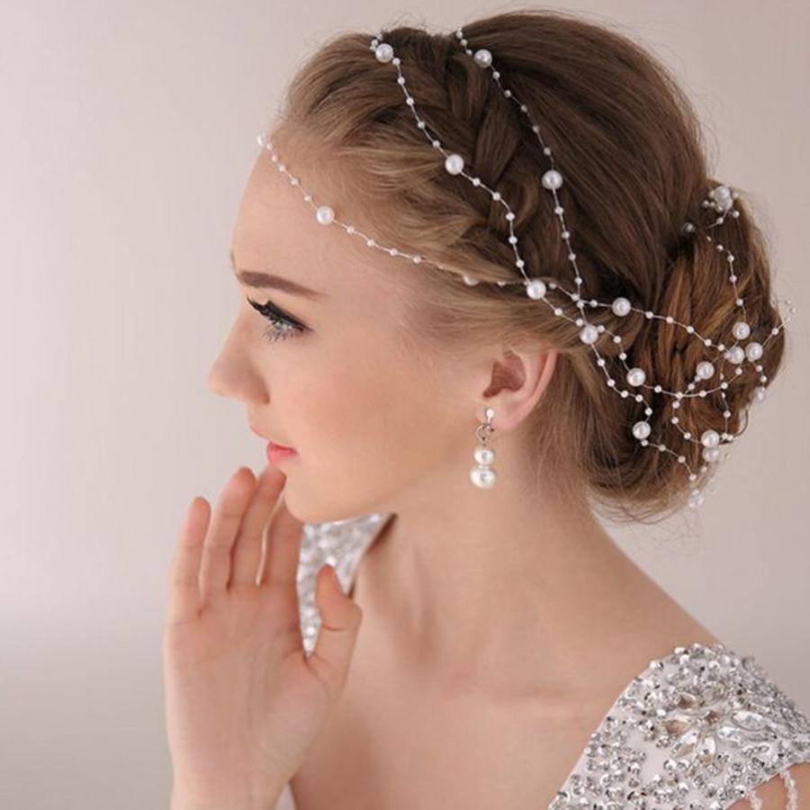 Haarketting Pearl - Wit - ca. 1 m.-1