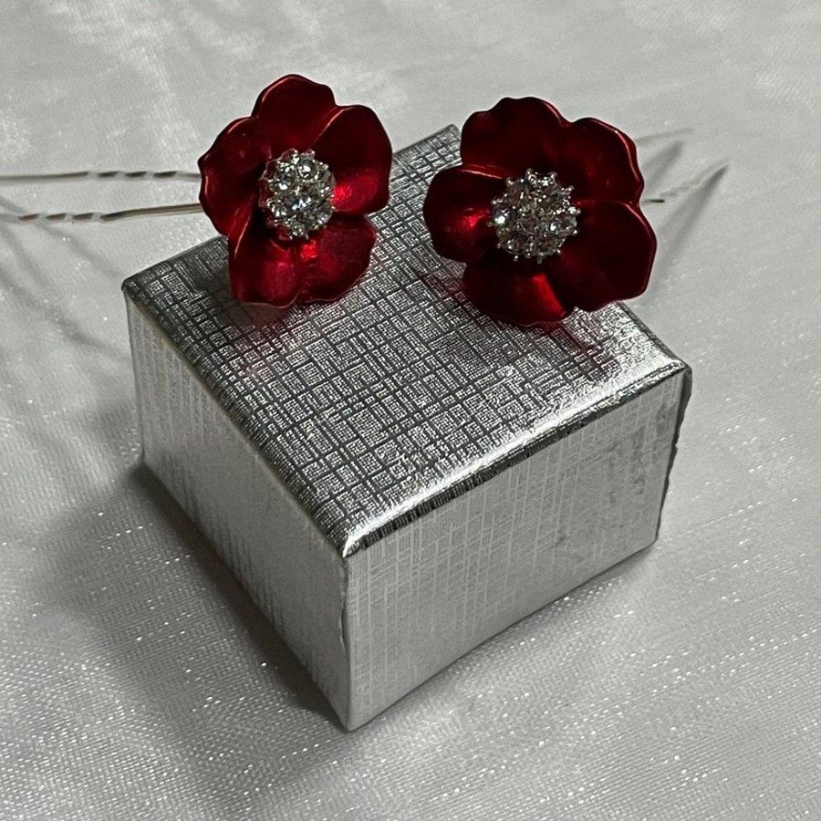 PaCaZa - Zilverkleurige Hairpins - Rood - Bloem - Parel - Diamant - 5 stuks-4