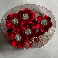 thumb-PaCaZa - Zilverkleurige Hairpins - Rood - Bloem - Parel - Diamant - 5 stuks-8