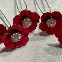 thumb-PaCaZa - Zilverkleurige Hairpins - Rood - Bloem - Parel - Diamant - 5 stuks-1