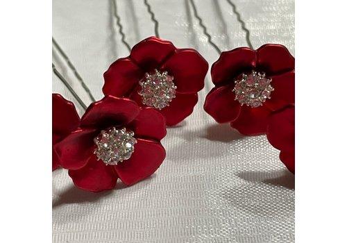 Zilverkleurige Hairpins - Rood - Bloem - Parel - Diamant - 5 stuks