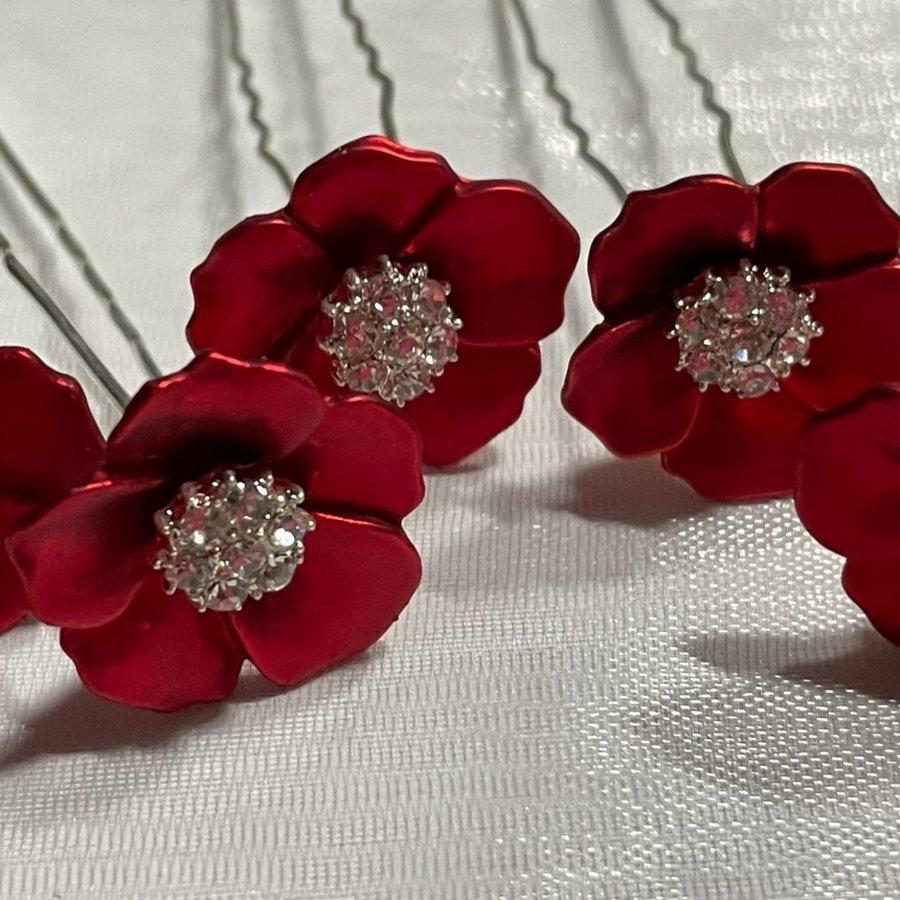 PaCaZa - Zilverkleurige Hairpins - Rood - Bloem - Parel - Diamant - 5 stuks-1