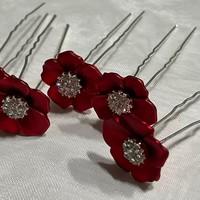 thumb-PaCaZa - Zilverkleurige Hairpins - Rood - Bloem - Parel - Diamant - 5 stuks-3