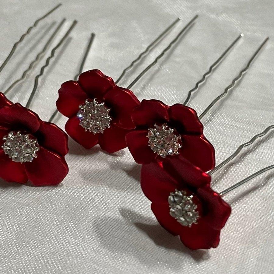 PaCaZa - Zilverkleurige Hairpins - Rood - Bloem - Parel - Diamant - 5 stuks-3