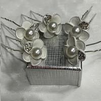 thumb-PaCaZa - Zilverkleurige Hairpins - Wit - Bloem - Parel - Diamantjes - 5 stuks-1