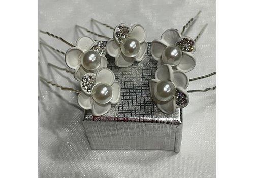 Zilverkleurige Hairpins - Wit - Bloem - Parel - Diamantjes - 5 stuks