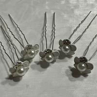 thumb-PaCaZa - Zilverkleurige Hairpins - Wit - Bloem - Parel - Diamantjes - 5 stuks-2