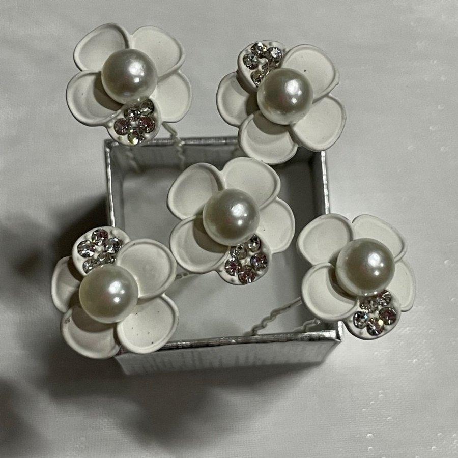 PaCaZa - Zilverkleurige Hairpins - Wit - Bloem - Parel - Diamantjes - 5 stuks-5