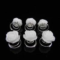 thumb-PaCaZa - Schattige Witte Roosjes Curlies - 6 stuks-1