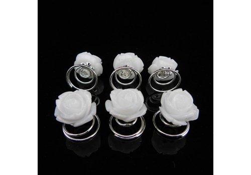 Schattige Witte Roosjes Curlies - 6 stuks