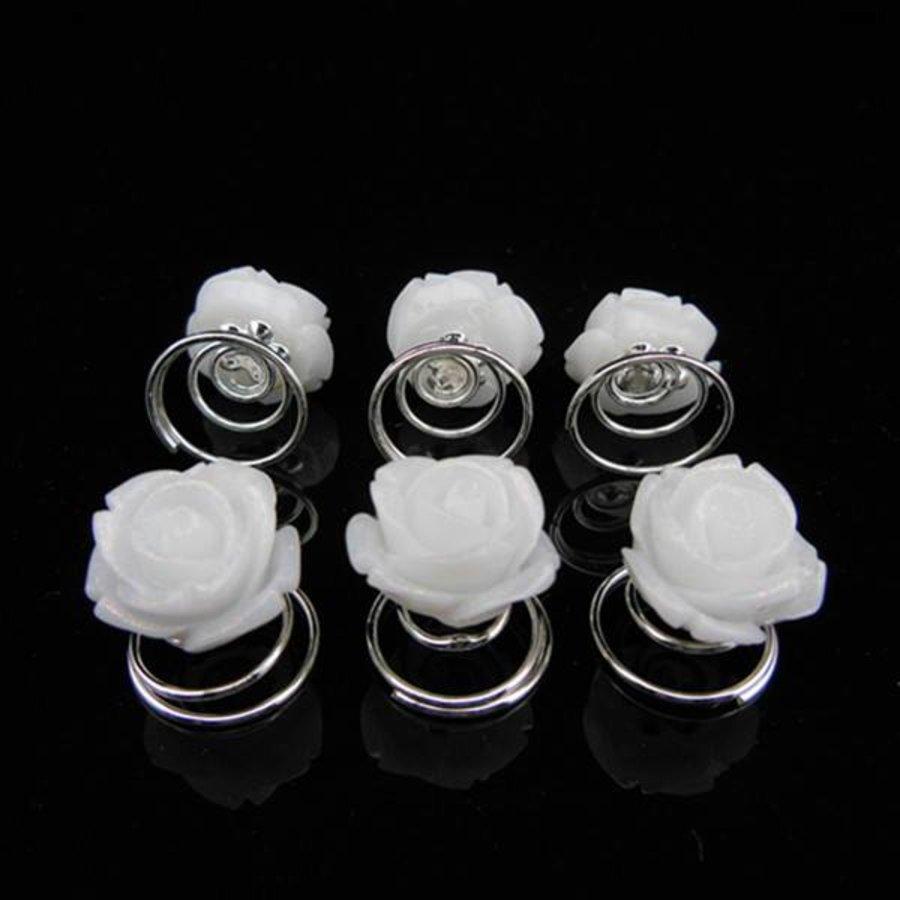 PaCaZa - Schattige Witte Roosjes Curlies - 6 stuks-1