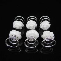 thumb-PaCaZa - Schattige Witte Roosjes Curlies - 6 stuks-3