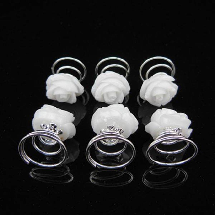 PaCaZa - Schattige Witte Roosjes Curlies - 6 stuks-3