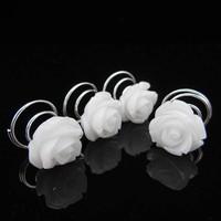 thumb-PaCaZa - Schattige Witte Roosjes Curlies - 6 stuks-2