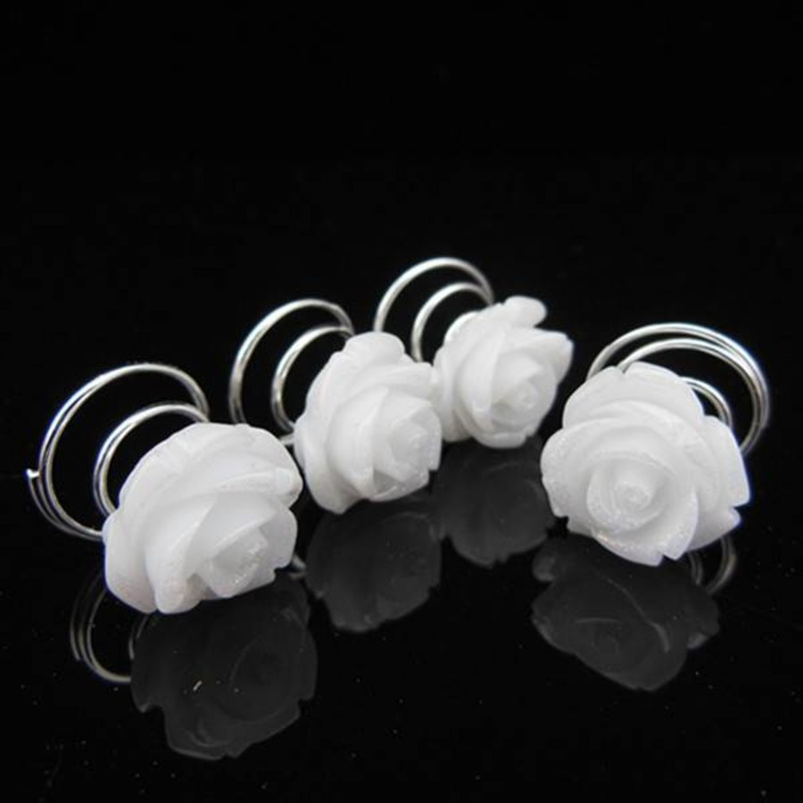 PaCaZa - Schattige Witte Roosjes Curlies - 6 stuks-2