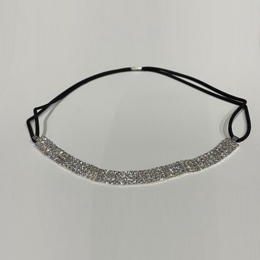 PaCaZa - Haarband / Haar Sieraad Zilverkleurig met Strass Steentjes-5