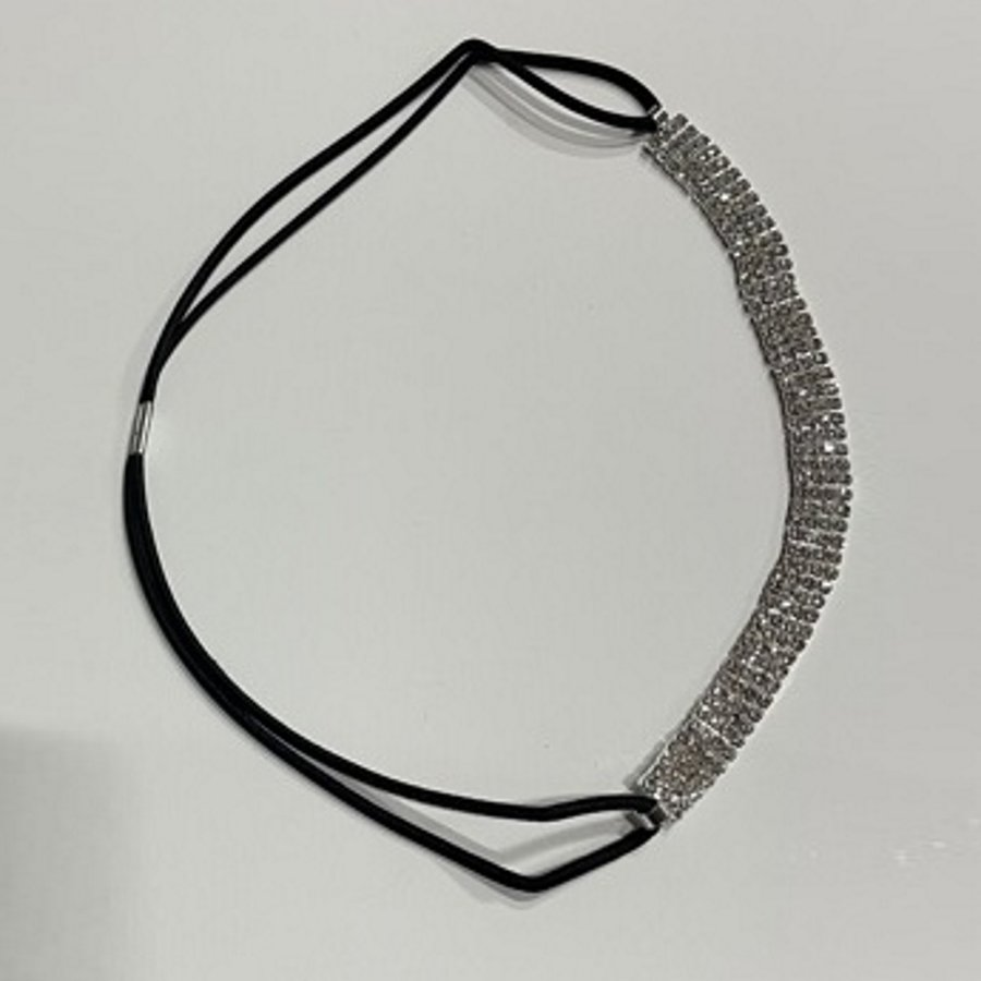 PaCaZa - Haarband / Haar Sieraad Zilverkleurig met Strass Steentjes-4