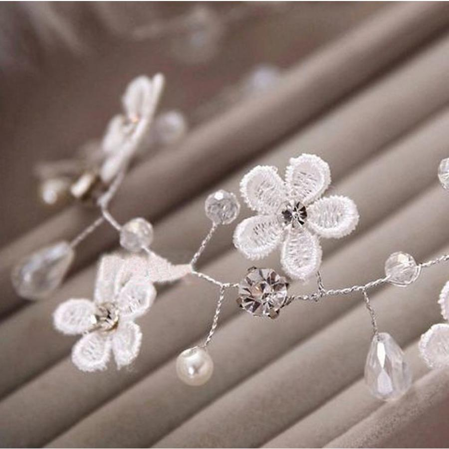 Bloemetjes haarband met Diamantjes en Pareltjes-4