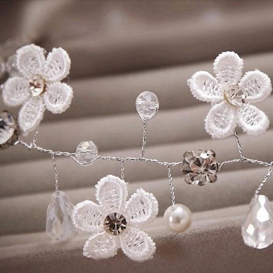 Bloemetjes haarband met Diamantjes en Pareltjes-5