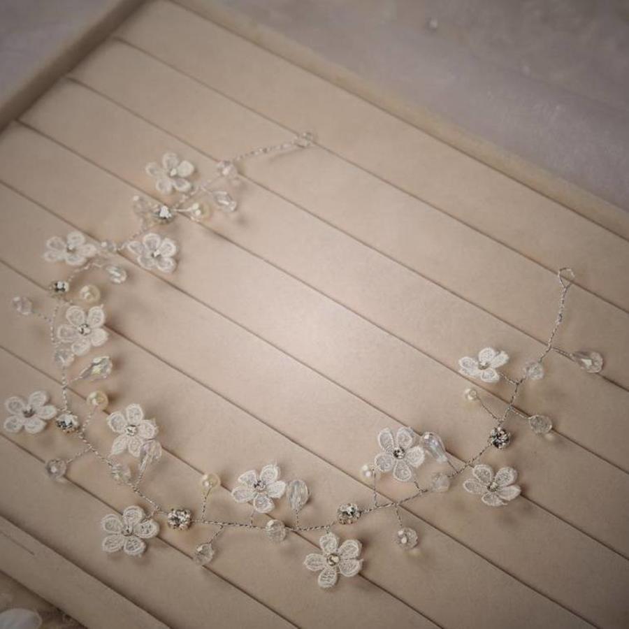 Bloemetjes haarband met Diamantjes en Pareltjes-8