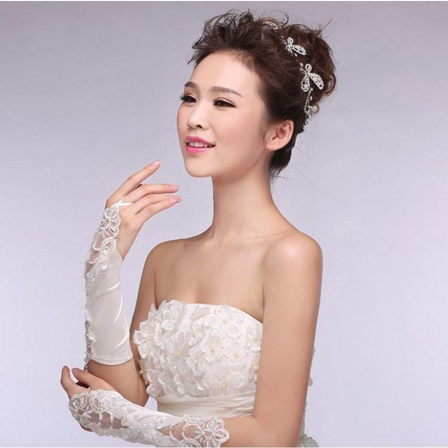 Bruidshandschoenen van Glanzend Satijn - Wit-3