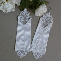 thumb-Bruidshandschoenen van Glanzend Satijn - Wit-2