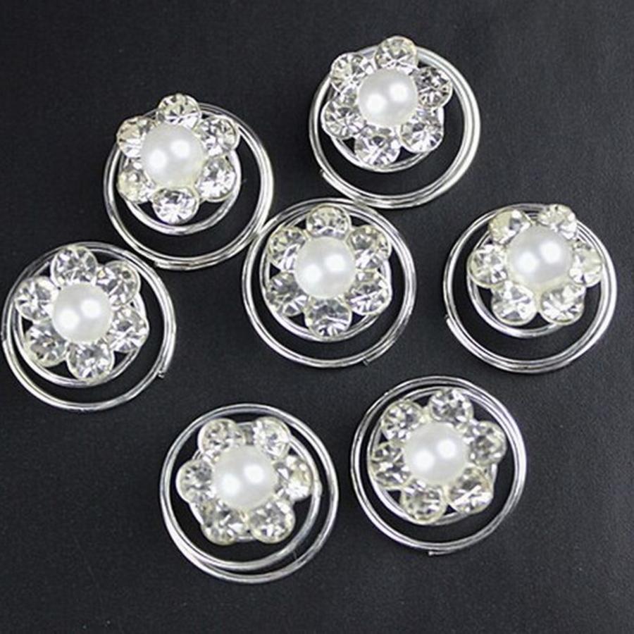 Bloem met Pareltje en Kristallen Curlies - 6 stuks-5
