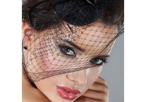 Stijlvolle birdcage veil / sluier / fascinator van french netting - Zwart