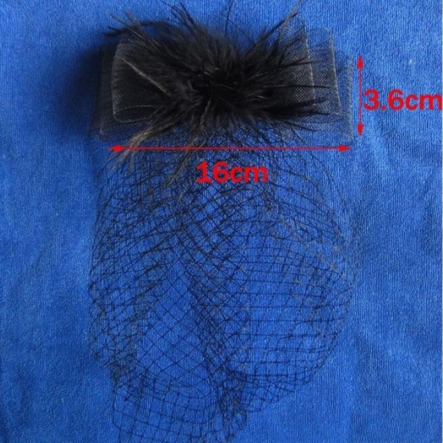 Stijlvolle birdcage veil / sluier / fascinator van french netting - Zwart-3