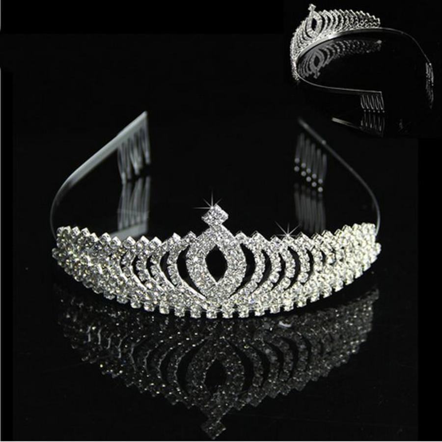 Elegante Fonkelende Tiara / Kroon-4