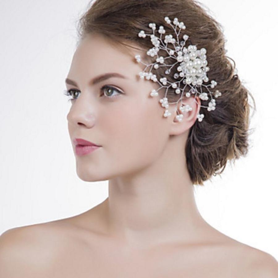 Stijlvol Haar Sieraad / Haarkam met Kristallen en Ivoorkleurige Parels-1