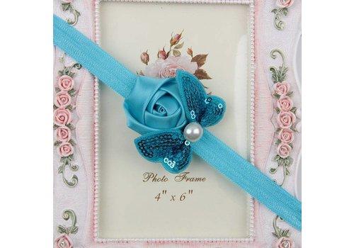 Haarband Roosje met Vlinder -  Aqua Blauw