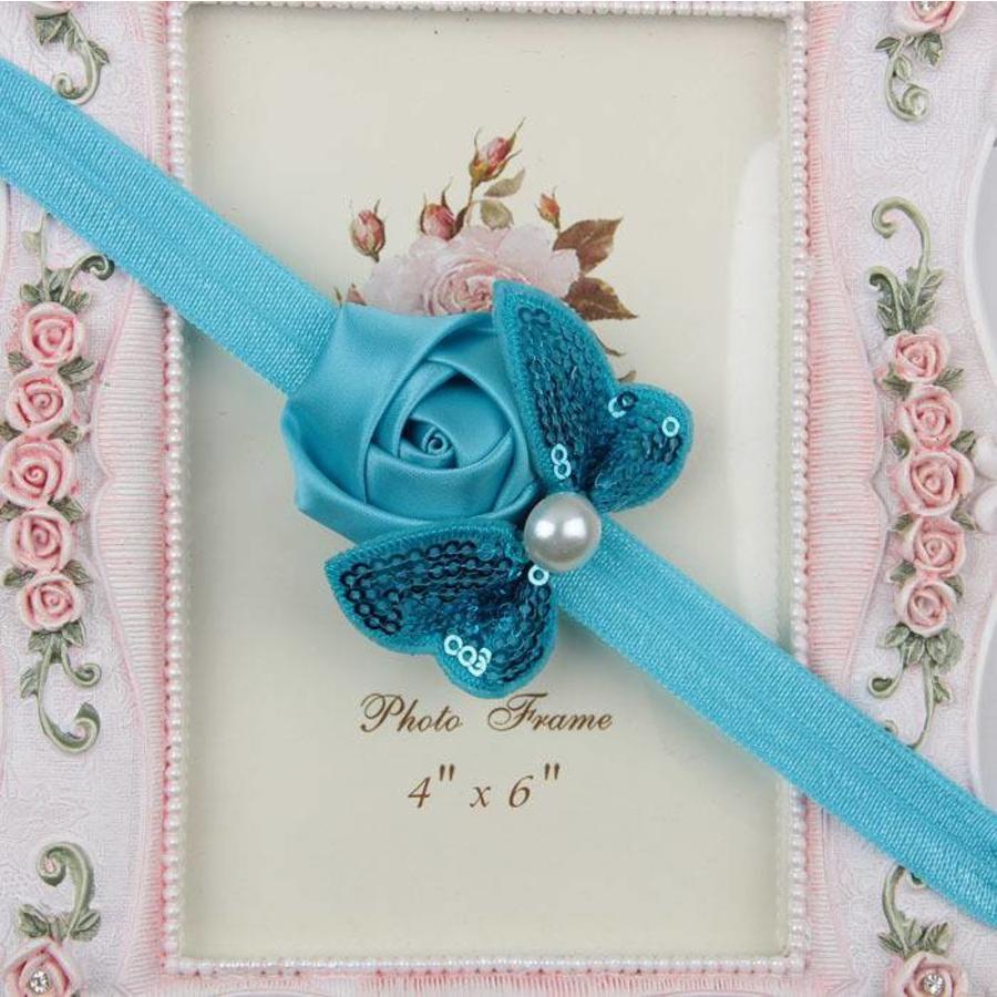PaCaZa - Haarband Roosje met Vlinder - Aqua Blauw-1