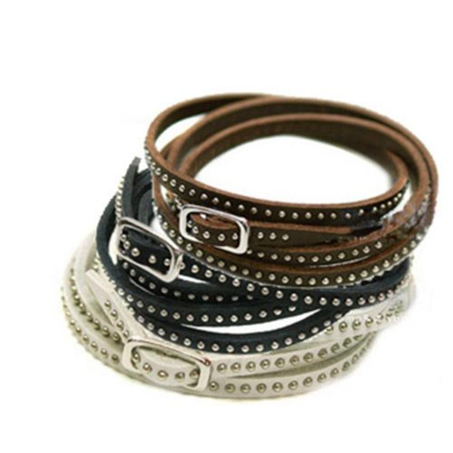 Stoere Armband met Kleine Studs / Knopjes - Bruin-3