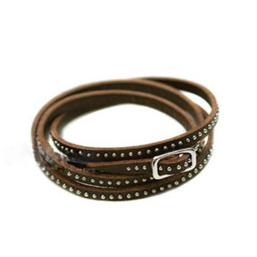 Stoere Armband met Kleine Studs / Knopjes - Bruin-1