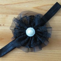 thumb-SALE - Haarband Bloem met Parel -  Zwart-1