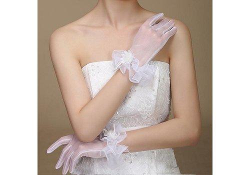 Schattige Ivoorkleurige Bruidshandschoenen