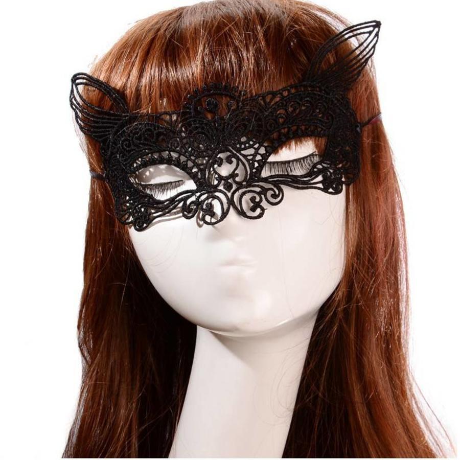 Party Masker - Kat -  Zwart - 002-2