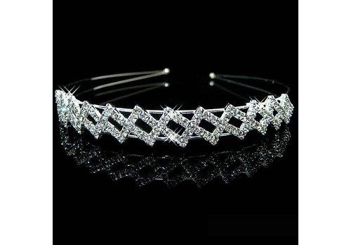 SALE - Stijlvolle asymmetrische Diadeem met  Kristallen