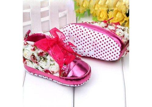 Bloemen Sneakers - Roze - 12 tot 18 maanden