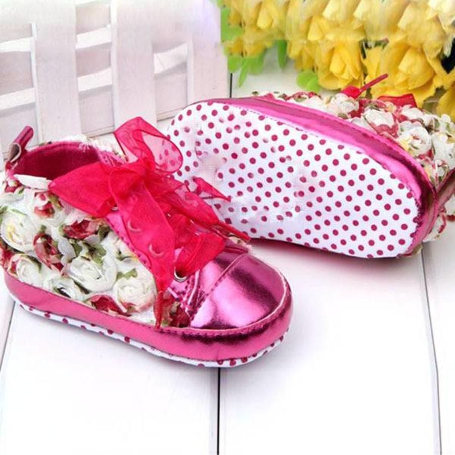 Bloemen Sneakers - Roze - 12 tot 18 maanden-1